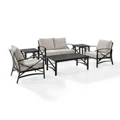 Kaplan 6 pc Outdoor Seating Set with Oatmeal Cushion - Loveseat, Two Chairs, Two Side Tables, Coffee Table