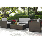 Palm Harbor Collection 4 Piece Outdoor Wicker Seating Set With Grey Cushions - Loveseat, Two Chairs & Glass Top Table, Brown Finish