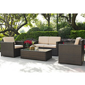 Palm Harbor Collection 4 Piece Outdoor Wicker Seating Set With Sand Cushions - Loveseat, Two Chairs & Glass Top Table, Brown Finish