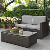 Palm Harbor Collection 2 Piece Outdoor Wicker Seating Set With Grey Cushions- Loveseat & Glass Top Table, Brown Finish