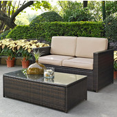 Palm Harbor Collection 2 Piece Outdoor Wicker Seating Set With Sand Cushions - Loveseat & Glass Top Table, Brown Finish