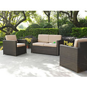 Palm Harbor Collection 3 Piece Outdoor Wicker Seating Set With Sand Cushions - Loveseat & Two Outdoor Chairs, Brown Finish