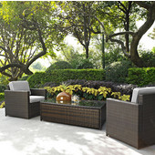Palm Harbor Collection 3 Piece Outdoor Wicker Seating Set With Grey Cushions - Two Outdoor Wicker Chairs & Glass Top Table, Brown Finish