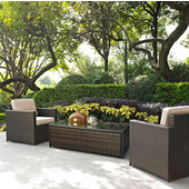 Palm Harbor Collection 3 Piece Outdoor Wicker Seating Set With Sand Cushions - Two Outdoor Wicker Chairs & Glass Top Table, Brown Finish