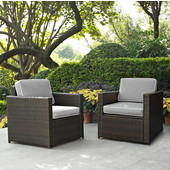 Palm Harbor Collection 2 Piece Outdoor Wicker Seating Set With Grey Cushions - Two Outdoor Wicker Chairs, Brown Finish