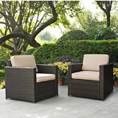 Palm Harbor Collection 2 Piece Outdoor Wicker Seating Set With Sand Cushions - Two Outdoor Wicker Chairs, Brown Finish