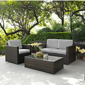 Palm Harbor Collection 3 Piece Outdoor Wicker Seating Set With Grey Cushions - Loveseat, Chair & Glass Top Table, Brown Finish