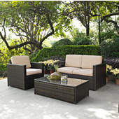 Palm Harbor Collection 3 Piece Outdoor Wicker Seating Set With Sand Cushions - Loveseat, Chair & Glass Top Table, Brown Finish