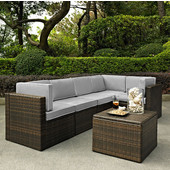 Palm Harbor Collection 6 Piece Outdoor Wicker Seating Set With Grey Cushions - Three Corner Chairs, Two Center Chairs & Coffee Sectional Table, Brown Finish