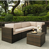 Palm Harbor Collection 6 Piece Outdoor Wicker Seating Set With Sand Cushions - Three Corner Chairs, Two Center Chairs & Coffee Sectional Table, Brown Finish