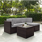 Palm Harbor Collection 5 Piece Outdoor Wicker Seating Set With Grey Cushions - Two Corner Chairs, Center Chair, Ottoman & Coffee Sectional Table, Brown Finish