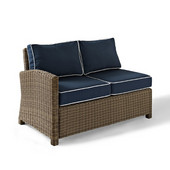 Crosley Bradenton Outdoor Wicker Sectional Right Corner Loveseat with Navy Cushions, 52-3/4''W x 31-1/2''D x 32-1/2''H