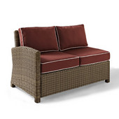 Crosley Bradenton Outdoor Wicker Sectional Right Corner Loveseat with Sangria Cushions, 52-3/4''W x 31-1/2''D x 32-1/2''H