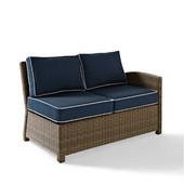 Crosley Bradenton Outdoor Wicker Sectional Left Corner Loveseat with Navy Cushions, 52-3/4''W x 31-1/2''D x 32-1/2''H