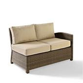 Crosley Bradenton Outdoor Wicker Sectional Left Corner Loveseat with Sand Cushions, 52-3/4''W x 31-1/2''D x 32-1/2''H