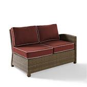 Crosley Bradenton Outdoor Wicker Sectional Left Corner Loveseat with Sangria Cushions, 52-3/4''W x 31-1/2''D x 32-1/2''H