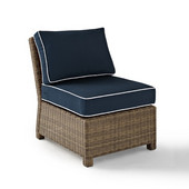 Crosley Bradenton Outdoor Wicker Sectional Center Chair with Navy Cushions, 25''W x 31-1/2''D x 32-1/2''H