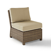 Crosley Bradenton Outdoor Wicker Sectional Center Chair with Sand Cushions, 25''W x 31-1/2''D x 32-1/2''H