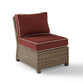 Crosley Bradenton Outdoor Wicker Sectional Center Chair with Sangria Cushions, 25''W x 31-1/2''D x 32-1/2''H