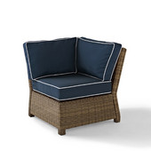 Crosley Bradenton Outdoor Wicker Sectional Corner Chair with Navy Cushions, 31-1/2''W x 29''D x 32-1/2''H