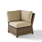 Crosley Bradenton Outdoor Wicker Sectional Corner Chair with Sand Cushions, 31-1/2''W x 29''D x 32-1/2''H