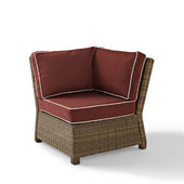 Crosley Bradenton Outdoor Wicker Sectional Corner Chair with Sangria Cushions, 31-1/2''W x 29''D x 32-1/2''H