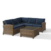 Crosley Bradenton 4-Piece Outdoor Wicker Seating Set with Navy Cushions - Right Corner Loveseat, Left Corner Loveseat, Corner Chair, Sectional Glass Top Coffee Table