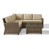 Crosley Bradenton 4-Piece Outdoor Wicker Seating Set with Sand Cushions - Right Corner Loveseat, Left Corner Loveseat, Corner Chair, Sectional Glass Top Coffee Table