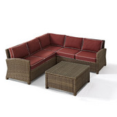 Crosley Bradenton 4-Piece Outdoor Wicker Seating Set with Sangria Cushions - Right Corner Loveseat, Left Corner Loveseat, Corner Chair, Sectional Glass Top Coffee Table