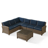 Crosley Bradenton 5-Piece Outdoor Wicker Seating Set with Navy Cushions - Right Corner Loveseat, Left Corner Loveseat, Corner Chair, Center Chair, Sectional Glass Top Coffee Table