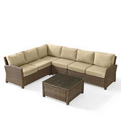 Crosley Bradenton 5-Piece Outdoor Wicker Seating Set with Sand Cushions - Right Corner Loveseat, Left Corner Loveseat, Corner Chair, Center Chair, Sectional Glass Top Coffee Table