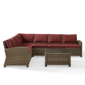 Crosley Bradenton 5-Piece Outdoor Wicker Seating Set with Sangria Cushions - Right Corner Loveseat, Left Corner Loveseat, Corner Chair, Center Chair, Sectional Glass Top Coffee Table