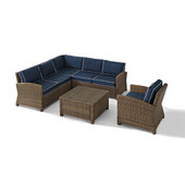 Crosley Bradenton 5-Piece Outdoor Wicker Seating Set with Navy Cushions - Right Corner Loveseat, Left Corner Loveseat, Corner Chair, Arm Chair, Sectional Glass Top Coffee Table