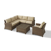 Crosley Bradenton 5-Piece Outdoor Wicker Seating Set with Sand Cushions - Right Corner Loveseat, Left Corner Loveseat, Corner Chair, Arm Chair, Sectional Glass Top Coffee Table