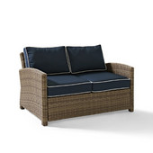 Crosley Bradenton Outdoor Wicker Loveseat with Navy Cushions, 55''W x 31-3/4''D x 32-1/2''H