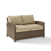 Crosley Bradenton Outdoor Wicker Loveseat with Sand Cushions, 55''W x 31-3/4''D x 32-1/2''H