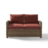 Crosley Bradenton Outdoor Wicker Loveseat with Sangria Cushions, 55''W x 31-3/4''D x 32-1/2''H