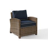 Crosley Bradenton Outdoor Wicker Arm Chair with Navy Cushions, 30-1/2''W x 31-3/4''D x 32-1/2''H
