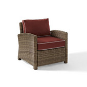 Crosley Bradenton Outdoor Wicker Arm Chair with Sangria Cushions, 30-1/2''W x 31-3/4''D x 32-1/2''H