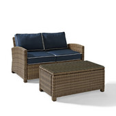 Crosley Bradenton 2 Piece Outdoor Wicker Seating Set with Navy Cushions - Loveseat & Glass Top Table