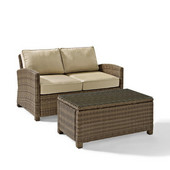 Crosley Bradenton 2 Piece Outdoor Wicker Seating Set with Sand Cushions - Loveseat & Glass Top Table
