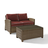 Crosley Bradenton 2 Piece Outdoor Wicker Seating Set with Sangria Cushions - Loveseat & Glass Top Table