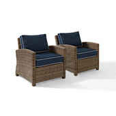 Crosley Bradenton 2 Piece Outdoor Wicker Seating Set with Navy Cushions -  Two Arm Chairs