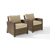 Crosley Bradenton 2 Piece Outdoor Wicker Seating Set with Sand Cushions -  Two Arm Chairs