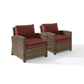 Crosley Bradenton 2 Piece Outdoor Wicker Seating Set with Sangria Cushions - Two Arm Chairs