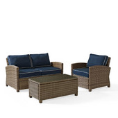 Crosley Bradenton 3 Piece Outdoor Wicker Seating Set with Navy Cushions - Loveseat, Arm Chair & Glass Top Table