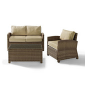 Crosley Bradenton 3 Piece Outdoor Wicker Seating Set with Sand Cushions - Loveseat, Arm Chair & Glass Top Table