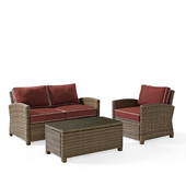 Crosley Bradenton 3 Piece Outdoor Wicker Seating Set with Sangria Cushions - Loveseat, Arm Chair & Glass Top Table