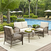 Tribeca 4 Piece Outdoor Wicker Seating Set with Sand Cushions - Loveseat, 2 Arm Chairs, and Coffee Table