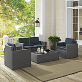 Palm Harbor 4 Piece Outdoor Wicker Seating Set in Grey Wicker with Navy Cushions: Loveseat, Coffee Table, and 2 Arm Chairs
